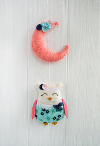 Coral and navy owl nursery garland