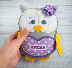 Girl gift idea Personalized kids gift Flower girl gift from aunt Fairytale gift Owl toy Personalized plushie Tooth fairy Purple gray owl