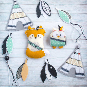 Tribal_garland_for_nursery_with_a fox_and_an_owl