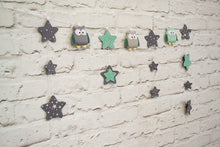 Gray and mint nursery garland with owls