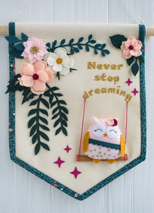 Pastel floral banner with an owl