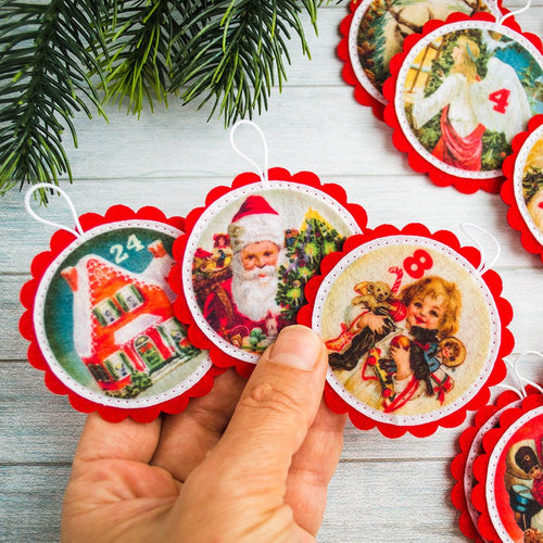 Christmas ornaments Advent calendar ornaments Kids Christmas gift vintage Christmas tree Christmas countdown Advent ornaments Kids advent