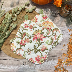 Gift ideas beige potholders floral potholder green pot holders provence kitchen pot holder hot pads shabby chic kitchen decor Gift for mom