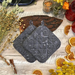 Gray potholders Gift under 25 quilted pot holders modern home decor gray hot pads Hostess gifts Moving gift Gift for mom trivet gift ideas