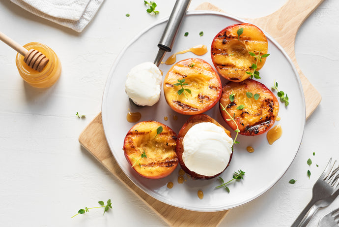 Grilled Peaches with Hot Honey Ricotta