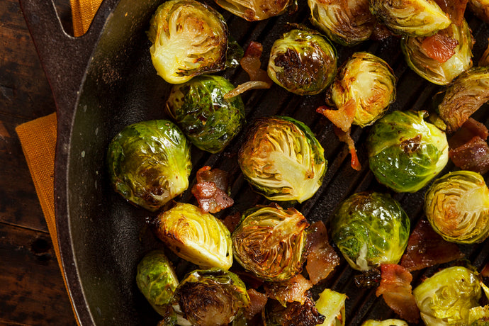 Hot Honey-Roasted Brussels Sprouts with Bacon