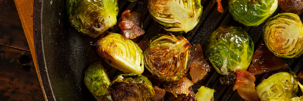 Hot Honey Roasted Brussels Sprouts with Bacon