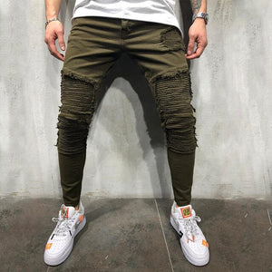 Army Green Pleated Skinny pants