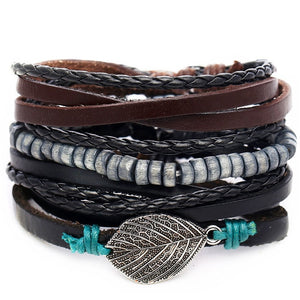 Leaf Feather Leather Bracelets
