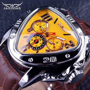 Sport Racing Triangle Design Genuine Leather Mechanical Watch