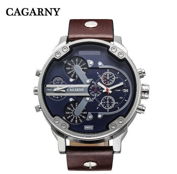 Classy Mens Wrist Watches Waterproof Dual Time Displays