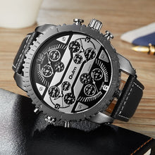Load image into Gallery viewer, Four Time Zones Dial PU Leather Wristwatch