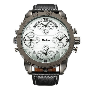 Four Time Zones Dial PU Leather Wristwatch