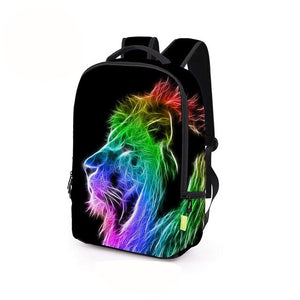 DIOMO 3D Roaring Lion, Dinosaur, Wolf and Cat Animal Pattern Bagpack