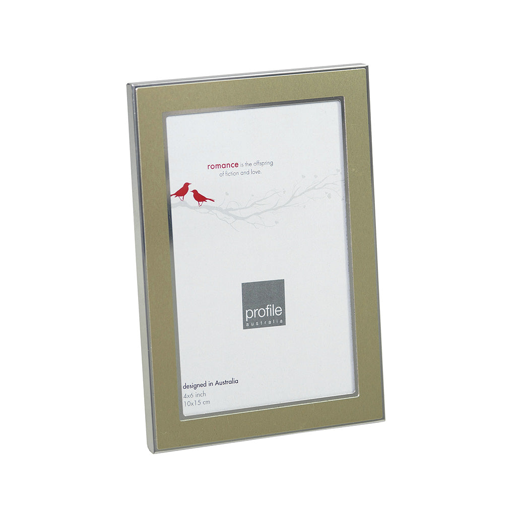 metal photo frame with a champagne finish and a silver trim