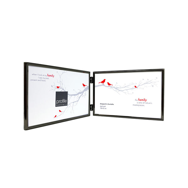 A shiny finish metal double horizontal standing photo frame with a thin rounded design in black