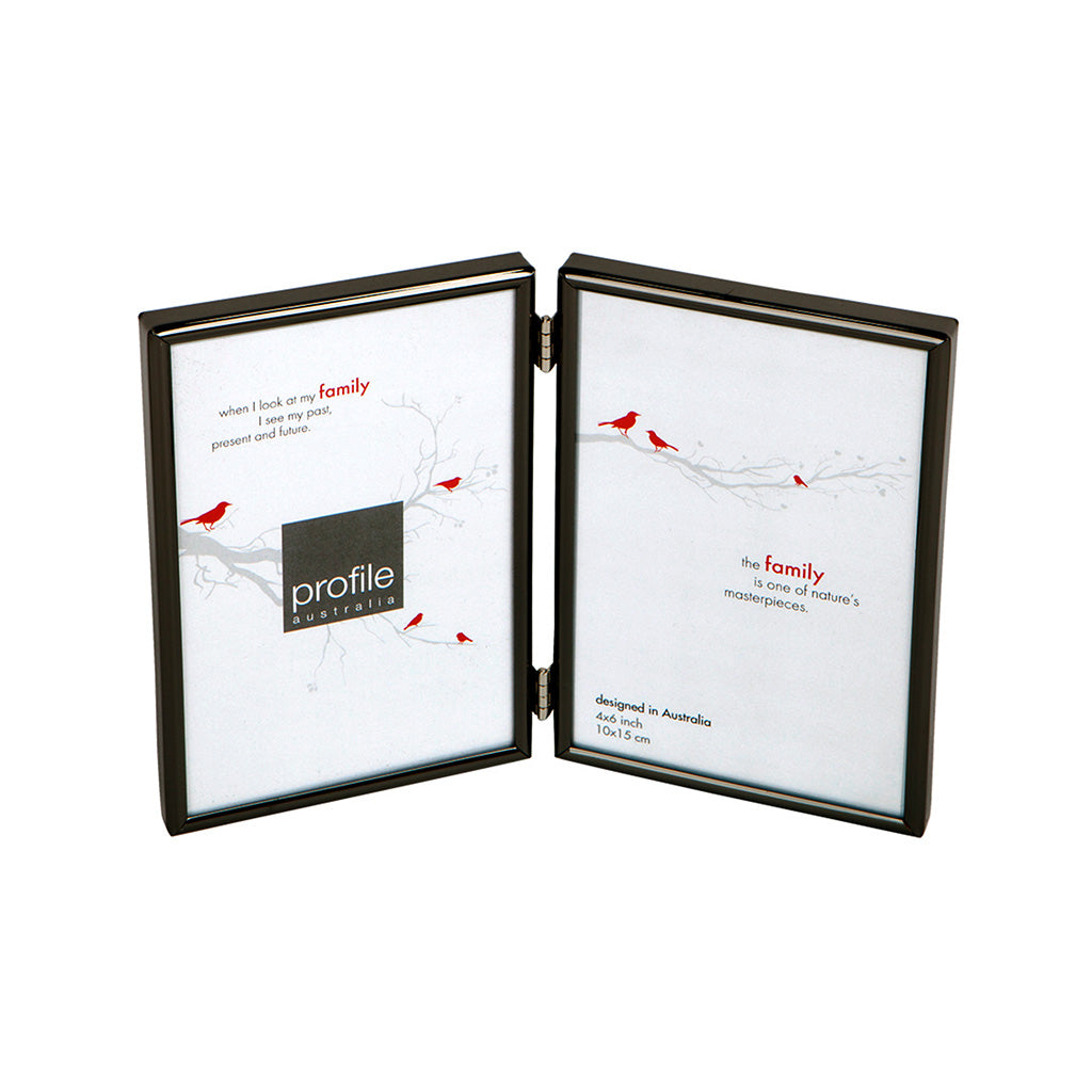 A shiny finish metal double vertical standing photo frame with a thin rounded design in black