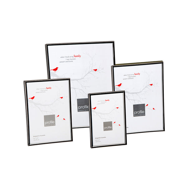 A shiny finish metal photo frame in a thin rounded design in black