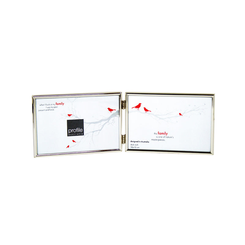 A shiny finish metal double horizontal standing photo frame with a thin rounded design in silver