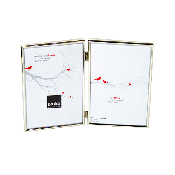 A shiny finish metal double vertical standing photo frame with a thin rounded design in silver