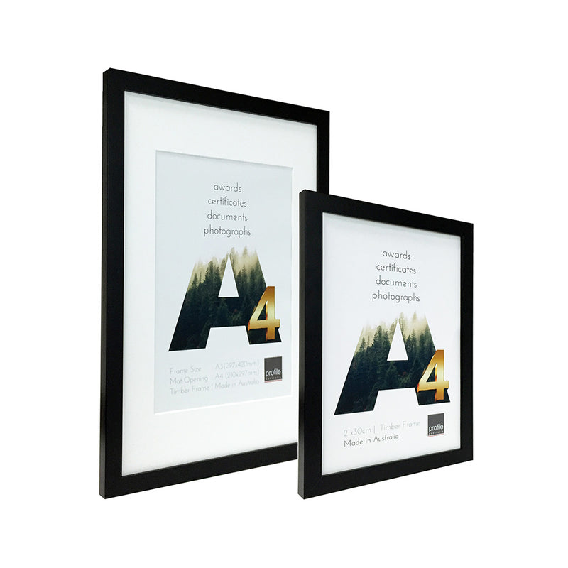 A3 - A4  Certificate Australian Made Timber frame with a matte black finish