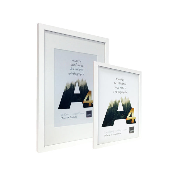 A4 - A3 Certificate sized Australian made timber frame with a matte white finish