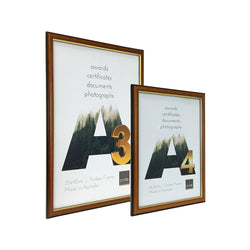 A4 - A3  certificate sized Australian made timber frame with walnut stain finish and gold trim