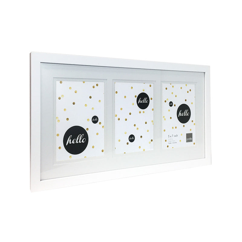 Australian made timber picture frame with a  matte white finish- Holds 3 photos