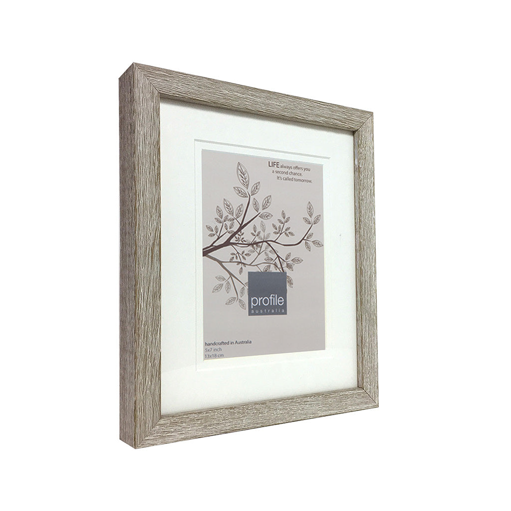 Australian made timber picture frame with a wood grain textured finish in a taupe colour