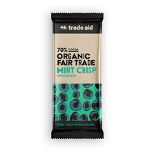 Load image into Gallery viewer, Organic 70% Fair Trade Mint Crisp Chocolate – 100g