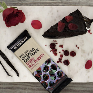 Organic 55% Fair Trade Dark Raspberry Chocolate – 100g