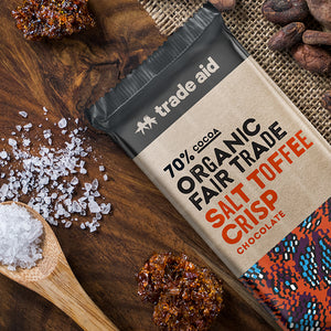 Organic 70% Fair Trade Salt Toffee Crisp Chocolate – 100g