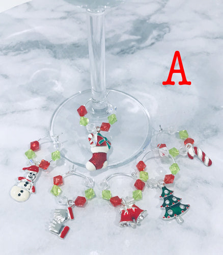 Christmas Wine Glass Charms - Set of 6
