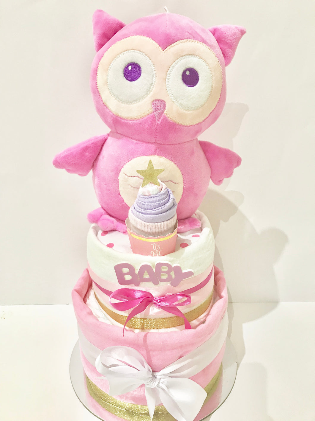 Two tier Pink Owl Nappy Cake baby girl gift