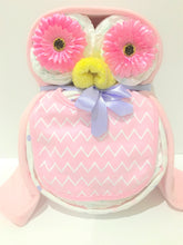 Load image into Gallery viewer, Owl Nappy Cake baby gift blue, pink or neutral colours
