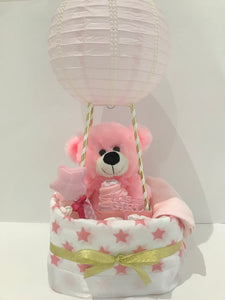 Hot air balloon nappy cake baby gift