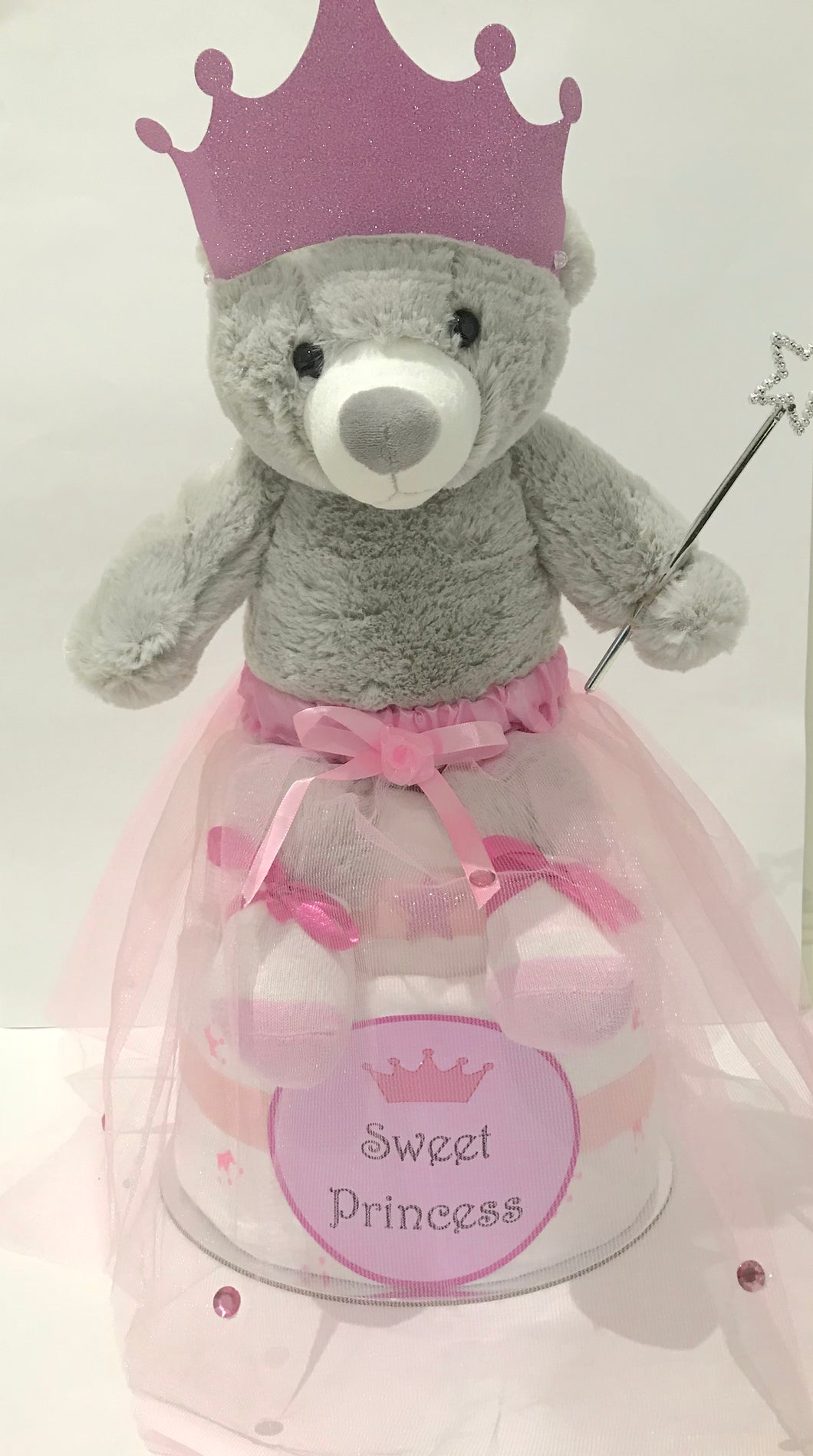 Princess girl pink nappy cake baby gift