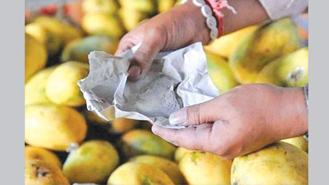 Chemical sachet of Calcium Carbide in Mango box, chemical used to ripen mangoes