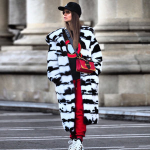 Autumn And Winter Black And White Tiger Print Long Cotton Dress & Coats