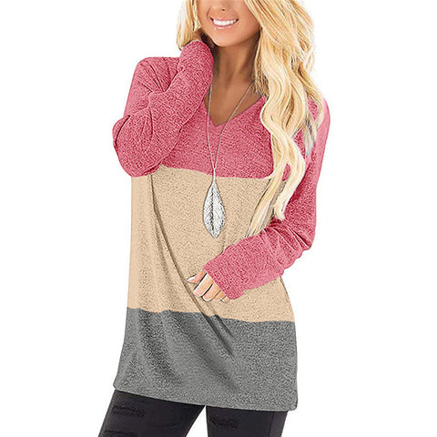 Casual V-neck Long Sleeve Contrast T-shirt