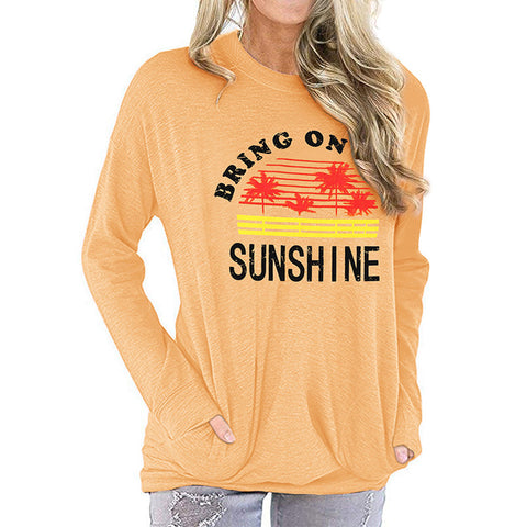 Women's Casual Printed Pocket Long Sleeve T-Shirt