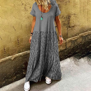 Women Fashion Casual Vacation Loose Crewneck Short Sleeve Dress