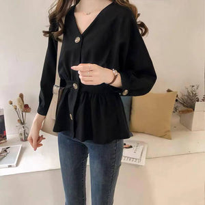 Woman elegant simple fashion v-neck top