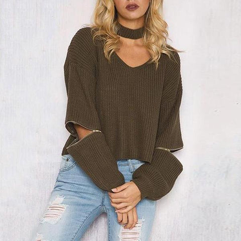 V Neck Plain Zipper Choker Sweater
