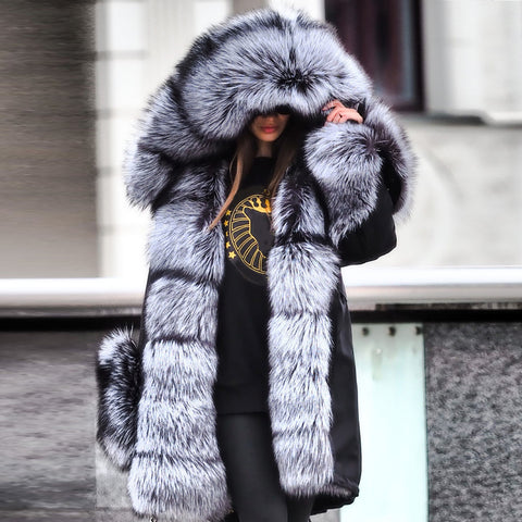Noble Luxury Punk Style Faux Fur Overcoat