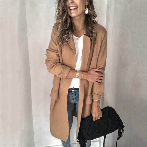 Casual Pure Color Lapel Trench Coat