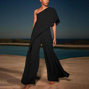 Single Shoulder Pure Color High-Waisted Wide-Legged Jumpsuit