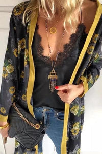 Casual V-Neck Sling Lined With Long-Sleeved Printed Cardigan Suit