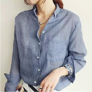 Loose Linen Long Sleeve Shirt