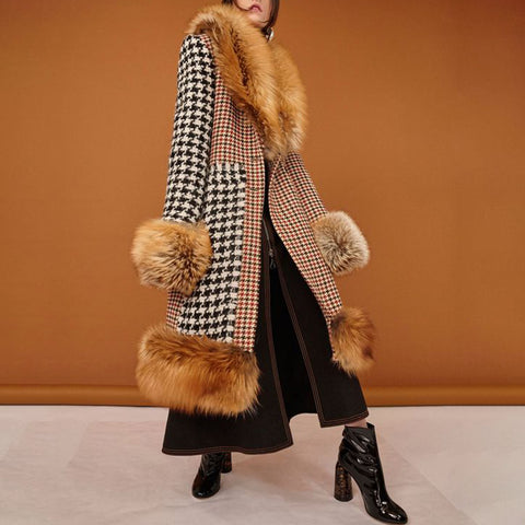 Fashion houndstooth color matching ladies coat